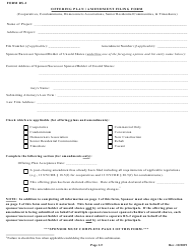 "Form RS-2 ""Offering Plan / Amendment Filing Form"" - New York"