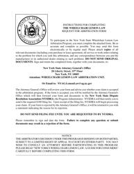 "Form CFB009 ""New York Wheelchair Lemon Law Arbitration Program Request for Arbitration Form"" - New York"