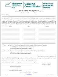 "Form 108 Schedule E ""List of Employees, Agents or Representatives"" - New York"