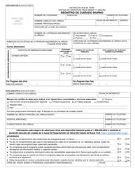 """Formulario OCFS-LDSS-0792 """"Registro De Cuidado Diurno"""" - New York (Spanish)"""