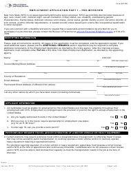 """Form S1000 Part 1 """"Employment Application - Pre-interview"""" - New York"""