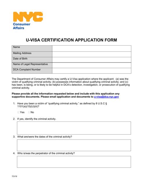 """U-Visa Certification Application Form"" - New York City Download Pdf"