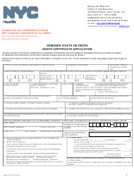 """""""Death Certificate Application"""" - New York City (English/French)"""