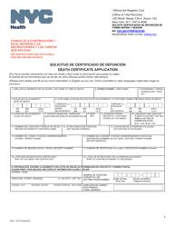 """Death Certificate Application"" - New York City (English/Spanish)"