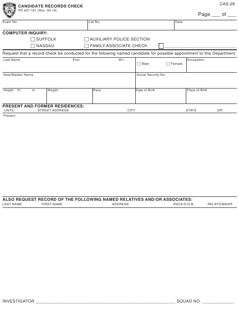 Form CAS-29 (PD-407-161)  Printable Pdf