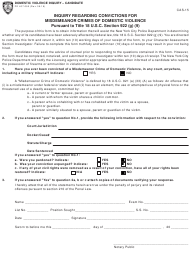 "Form CAS-15 (PD407-090) ""Inquiry Regarding Convictions for Misdemeanor Crimes of Domestic Violence"" - New York City"