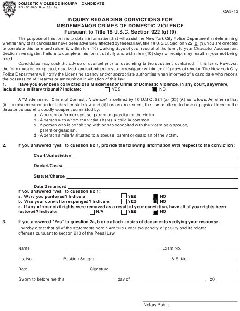 Form CAS-15 (PD407-090) Printable Pdf
