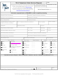 "Form TO-5 ""Telephone Order Service Request"" - North Carolina"