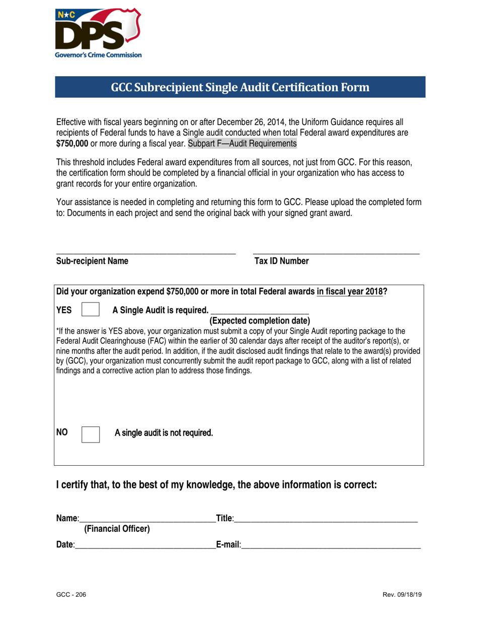 gcc audit certification single form carolina north printable templateroller subrecipient template