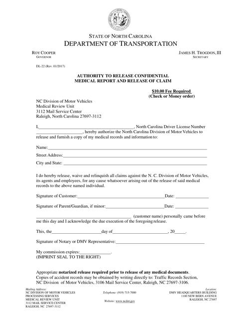 Form DL-22  Printable Pdf