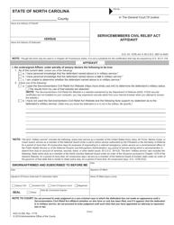"Form AOC-G-250 ""Servicemembers Civil Relief Act Affidavit"" - North Carolina"