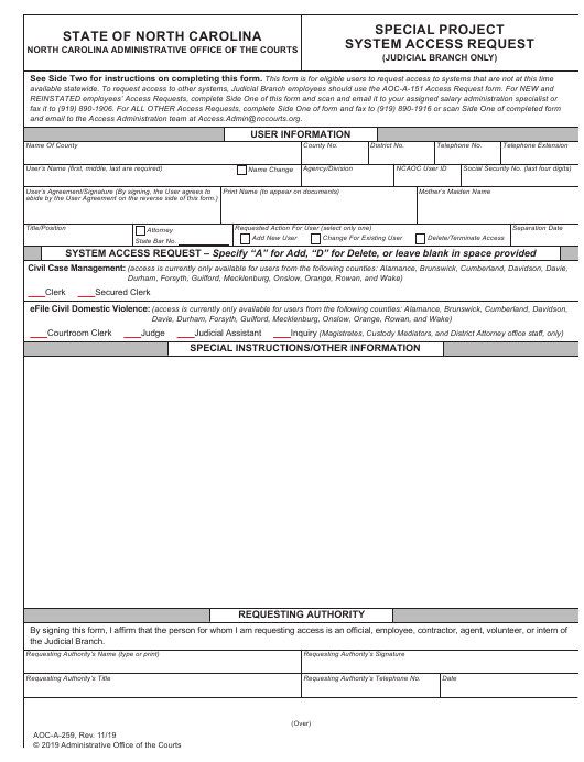 Form Aoc A 259 Download Fillable Pdf Or Fill Online Special Project System Access Request North Carolina Templateroller
