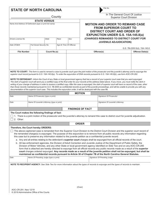 Form AOC-CR-291  Printable Pdf