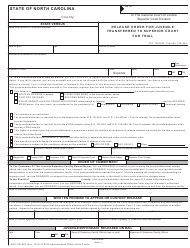 "Form AOC-CR-922 ""Release Order for Juvenile Transferred to Superior Court for Trial"" - North Carolina"