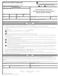 "Form AOC-CVR-11 ""Limited Driving Privilege Indefinite Pretrial Revocation (Implied-Consent Offense)"" - North Carolina"