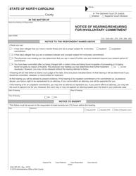 "Form AOC-SP-301 ""Notice of Hearing/Rehearing for Involuntary Commitment"" - North Carolina"
