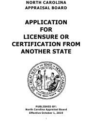 """Application for Licensure or Certification From Another State"" - North Carolina"