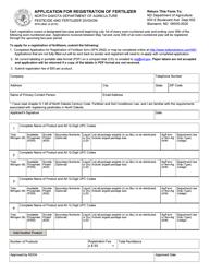 """Form SFN2842 """"Application for Registration of Fertilizer"""" - North Dakota"""
