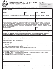 "Form SFN6538 ""Disability Take Any Type of Deer Gun Application"" - North Dakota"