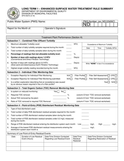 Form SFN54272  Printable Pdf