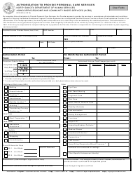 "Form SFN663 ""Authorization to Provide Personal Care Services"" - North Dakota"