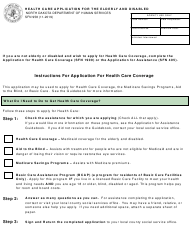 """Form SFN958 """"Health Care Application for the Elderly and Disabled"""" - North Dakota"""
