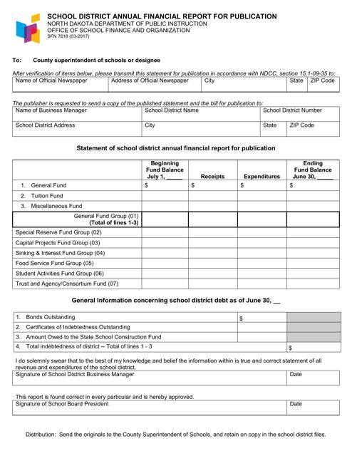 Form SFN7618  Printable Pdf