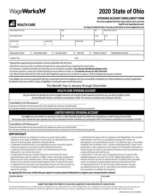 Form 3938-OHIO-HC 2020 Printable Pdf