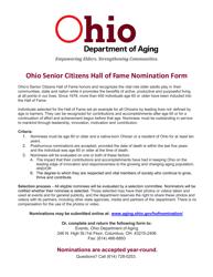 """Ohio Senior Citizens Hall of Fame Nomination Form"" - Ohio"