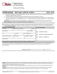 """Form COM3045 """"Appraiser Retake Application"""" - Ohio"""