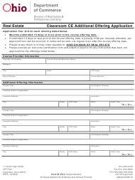 "Form COM3645 (REPL-19-0032) ""Classroom Ce Additional Offering Application"" - Ohio"