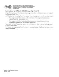 "Form 7A ""Affidavit of Well Ownership"" - Ohio"