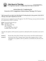 """Form for Lpn Completion of Intravenous Therapy Ce Course"" - Ohio"