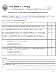 """Verification Form for Organizations Issuing Aprn National Certification"" - Ohio"