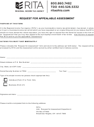 """""""Request for Appealable Assessment"""" - Ohio"""