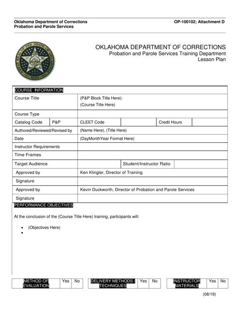 Form OP-100102 Attachment D  Printable Pdf