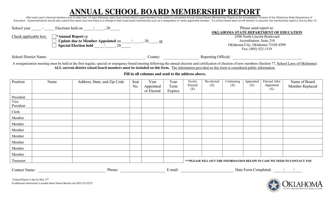 """Annual School Board Membership Report"" - Oklahoma Download Pdf"