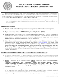 "SOS Form 0001 ""Certificate of Incorporation (Oklahoma Corporation)"" - Oklahoma"