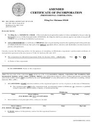 """SOS Form 0061 """"Amended Certificate of Incorporation (Professional Corporation)"""" - Oklahoma"""