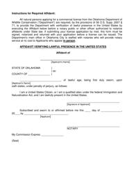 """""""Affidavit Verifying Lawful Presence in the United States"""" - Oklahoma"""