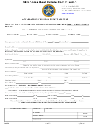 """""""Application for Real Estate License"""" - Oklahoma"""