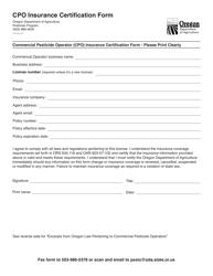 """Cpo Insurance Certification Form"" - Oregon"