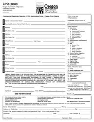"Form CPO ""Commercial Pesticide Operator (Cpo) Application Form"" - Oregon"