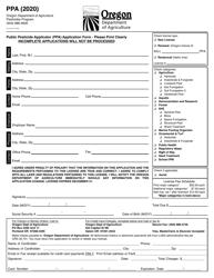 "Form PPA ""Public Pesticide Applicator (Ppa) Application Form"" - Oregon, 2020"