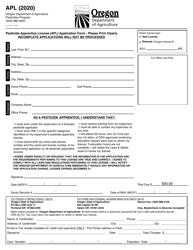 """Form APL """"Pesticide Apprentice License (Apl) Application Form"""" - Oregon, 2020"""