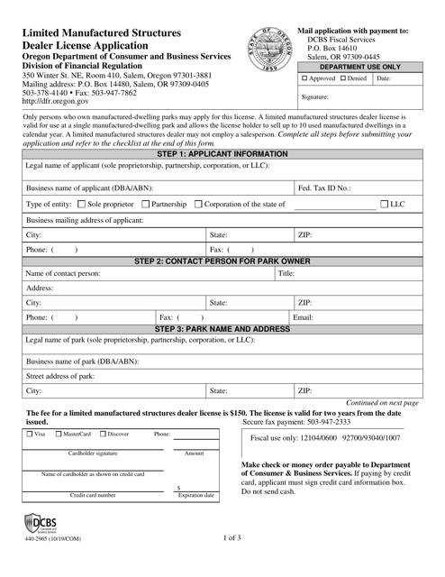 Form 440-2965  Printable Pdf