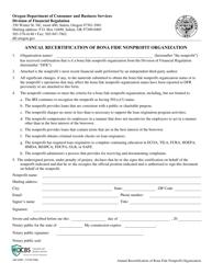 "Form 440-4990 ""Annual Recertification of Bona Fide Nonprofit Organization"" - Oregon"