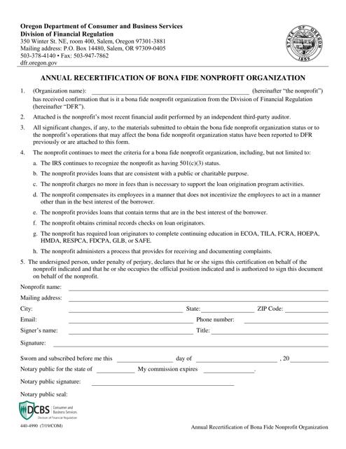 Form 440-4990  Printable Pdf