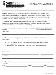"""Form APD0913 """"Notice of Right to Receive a Long-Term Care Assessment"""" - Oregon"""