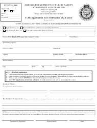 """Form F-20 """"Application for Certification of a Course"""" - Oregon"""